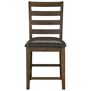 Rustic Counter Height Ladder Back Chair 2-Pack