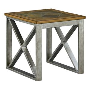 End Table with Metal Base and Wood Top