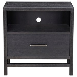 Contemporary Nightstand with Drawer and Wire Management