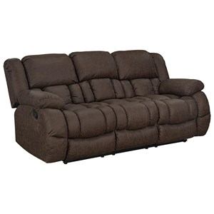 Casual Manual Reclining Sofa with Pillow Arms and Drop Table