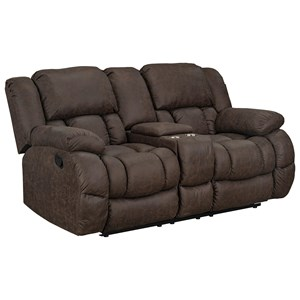 Casual Manual Power Reclining Loveseat with Cup Holders and Storage Console