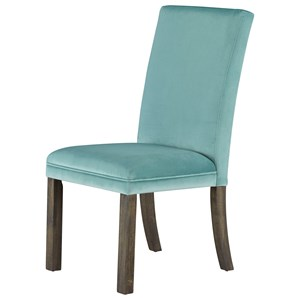 Set of Two Upholstered Dining Side Chairs - Teal