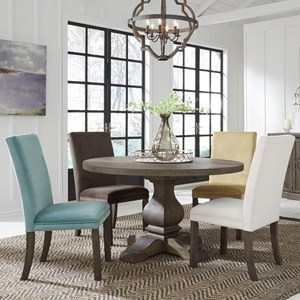 Casual Five Piece Dining Set with Round Table