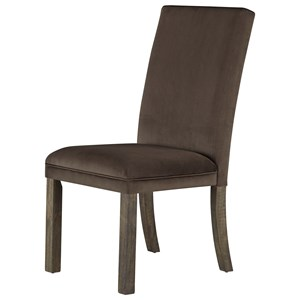 Set of Two Upholstered Dining Side Chairs - Brown