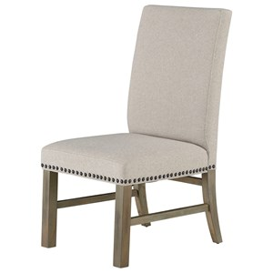 Set of Two Upholstered Dining Side Chairs with Nailheads - Linen Sand