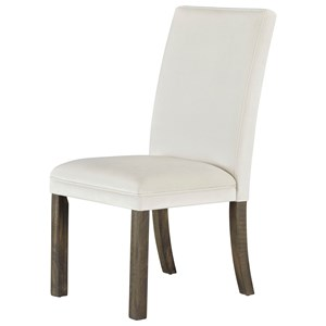 Set of Two Upholstered Dining Side Chairs - White