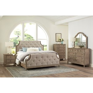 King Bedroom Group Including Dresser, Mirror, Headboard, Footboard and Rails with Slats