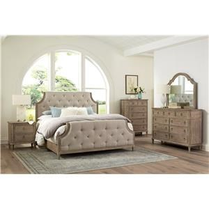 King Bed with Dresser, Mirror, and Nightstand