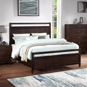 Contemporary Queen Panel Bed with Single Slat Headboard and Footboard