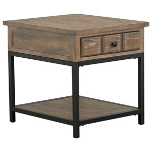 Transitional End Table with Storage