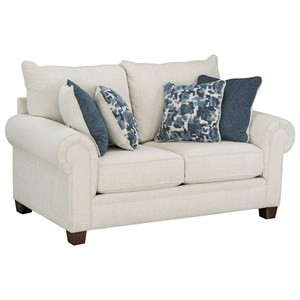 Casual Loveseat with Rolled Arms