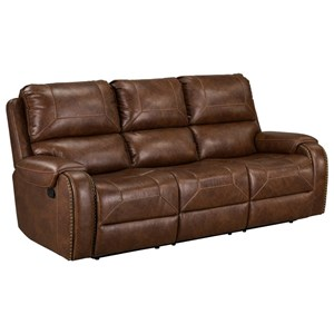 Casual Reclining Sofa with Drop Down Table and USB Outlet