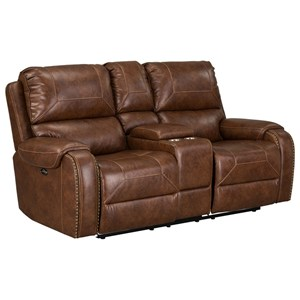 Casual Power Reclining Loveseat with Center Console and Cup Holders