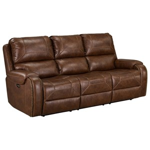 Casual Power Reclining Sofa with Drop Down Table and USB Outlet