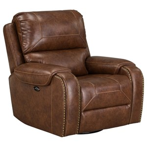 Casual Swivel Power Reclining Chair with Glider Base