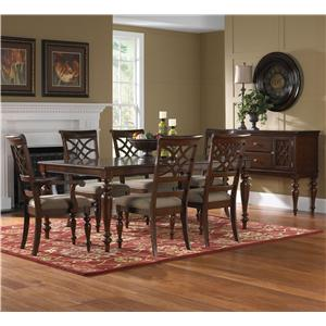 7 Piece Rectangular Dining Table & Upholstered Chair Set