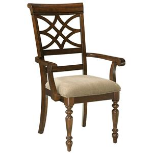 Upholstered Arm Chair with Scroll Back & Turned Legs