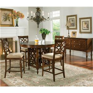 5 Piece Counter Height Table & Upholstered Stools Set