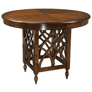 Round Counter Height Table with Woodcarved Pedestal Base