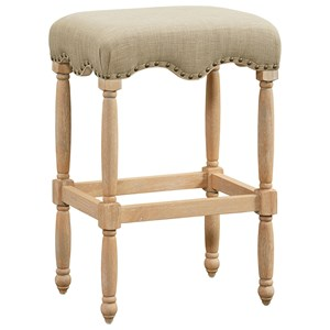 Traditional Barstool with Nailheads - Flax Fabric