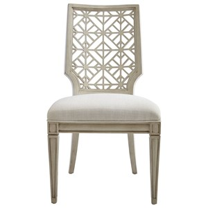 Catalina Side Chair with Contemporary Geometric Backrest