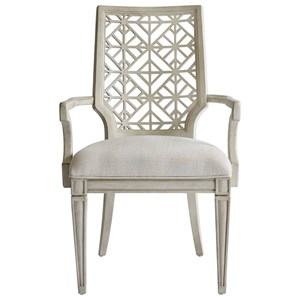 Catalina Arm Chair with Contemporary Geometric Backrest