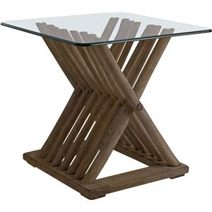 Driftwood Flats End Table with Glass Top