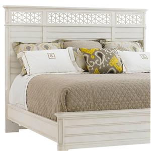 Cottage Style Queen Wood Panel Headboard with Honeycomb Motif