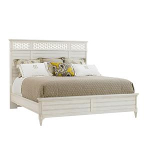 Cottage Style King Wood Panel Bed with Honeycomb Motif
