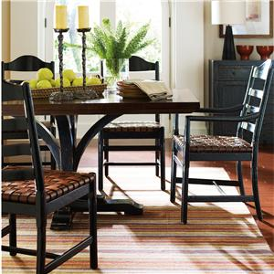 Stanley Furniture The Classic Portfolio Artisan 7 Piece Two-Tone Table and Chair Set