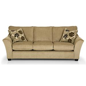 Contemporary Gel Sleeper Sofa with Flared Arms and Exposed Wood Feet