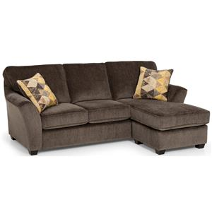 Contemporary Chaise Sofa with Flared Arms
