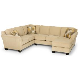 Contemporary Two Piece Sectional Sofa with RAF Chaise