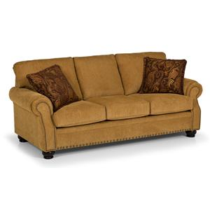 Traditional Sofa with Rolled Arms and Nailhead Trim