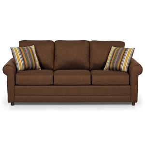 Transitional Queen Basic Sleeper Sofa with Rolled Arms