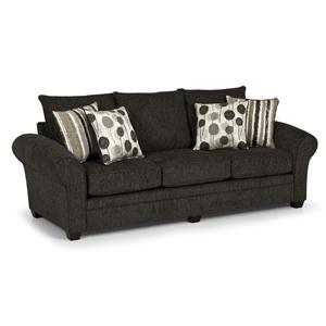 Transitional Three Over Three Sofa with Flared and Rolled Arms