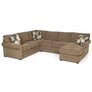 Casual Sectional Sofa with Chaise and Rolled Sock Arms