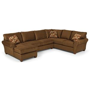 Transitional Three Piece Sectional Sofa with Rolled Arms