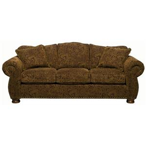 Traditional Camel Back Queen Basic Sofa Sleeper with Rolled Arms and Bun Feet