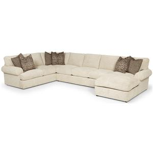 Transtional Sectional with Left Arm Loveseat and Right Arm Chaise