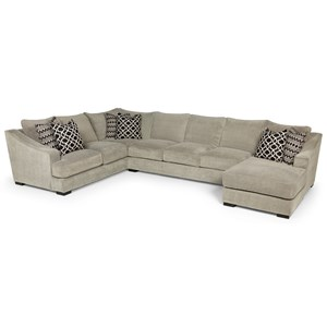 Casual Three Piece Sectional Sofa with Deep Seats