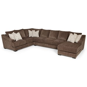 Casual Sectional Sofa with Sloped Track Arms