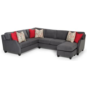 Casual 3-Piece Sectional with Right-Facing Chaise