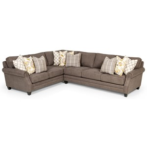 Transitional L-Shaped Sectional with Tapered Wood Legs