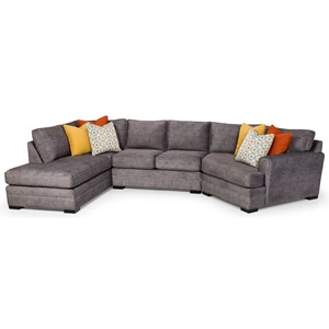 Casual 4-Seat Sectional Sofa with Cuddler and LAF Chaise