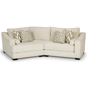 Contemporary 2-Seat Modular Sofa with Left Oversized Cuddler Chair