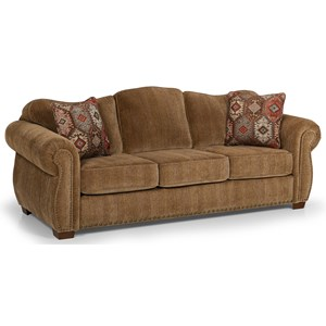 Casual Style Sofa with Nailhead Trim and Camel Back