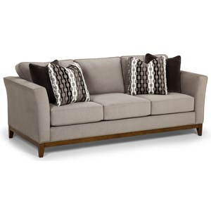 Contemporary Sofa with Tall Flared Arms and Wood Base