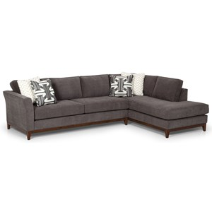 Contemporary 2-Piece Sectional with Oversized Chaise and Exposed Wood Base