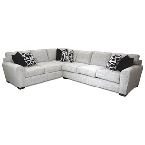Contemporary L-Shaped Sectional with Exposed Wood Feet